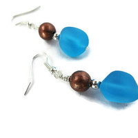 Vibrant Aqua Blue Sea Glass and Copper Earrings, Handmade Jewelry, Gift for Mom