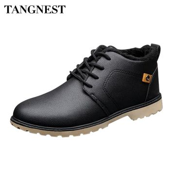 Tangnest Man's Solid Patchwork Charm Plush Ankle Boots Handmade PU Leather