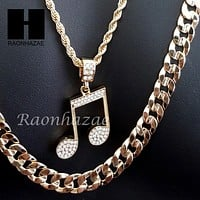 "MEN GOLD MIGOS MUSIC NOTE CHARM CUT 30"" CUBAN LINK CHAIN NECKLACE S086G"