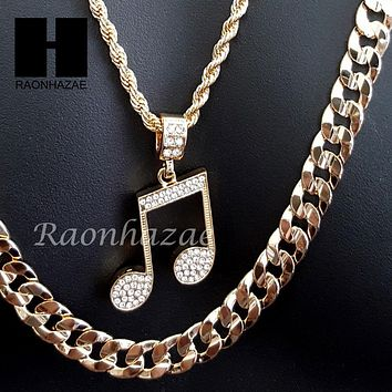 """MEN GOLD MIGOS MUSIC NOTE CHARM CUT 30"""" CUBAN LINK CHAIN NECKLACE S086G"""