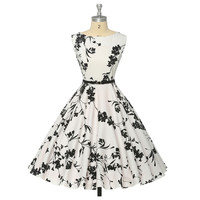 Women Summer Dress plus size clothing Audrey hepburn Floral robe Retro Swing Casual 50s Vintage Rockabilly Dresses Vestidos
