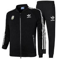 ADIDAS Clover autumn and winter new long-sleeved jacket running casual jacket two-piece black