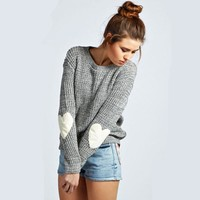 Fashion Long Sleeve Round Neck Knit Top Sweater