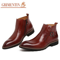 GRIMENTIN fashion Italian luxury cowboy mens leather boots casual black ankle boot dress shoes