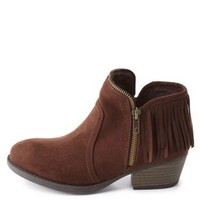 Qupid Zipper-Trim Fringe Booties by Charlotte Russe - Brown