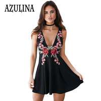AZULINA Embroidery Summer Dress Women Sleeveless Floral Sexy A line Mini Dress Black Short Casual Sundress Vestido Robe Femme