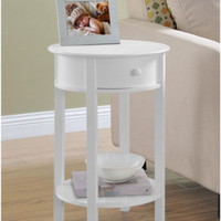 Round End Table With Small Storage Drawer Traditional Home Decor White Finish