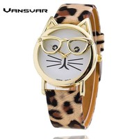 Women Cute Cat With Glasses Design Casual Watch