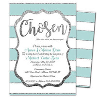 Adoption Baby Shower Invitations Boy - Blue Adopted Baby Shower - Chosen Baby Shower - Prayed Adoption Shower Invites - Blue and Silver Boys