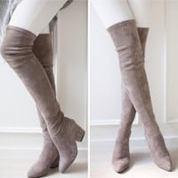 Low Heel Thigh High Over The Knee Boots