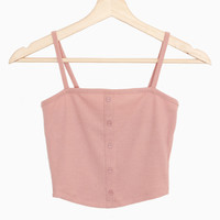 Button Accent Ribbed Cami Crop Top