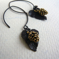 Long Drop Earrings - Pine Cone and Leaf - Fall Fashion - Woodland Jewelry - Simplicity