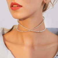 Rhinestone Decor Criss Cross Choker 1pc