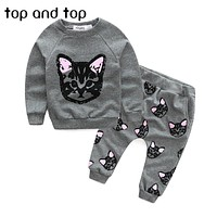 (actual photo)girls clothing sets kids cat clothes little cat baby girl and boy long sleeve cotton set