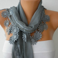 Gray Scarf  - Cotton  Scarf - Headband Necklace Cowl with Lace Edge   -