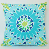 Turquoise, Chartreuse and Sky Blue Trina Turk Sunburst Outdoor Pillow Cover