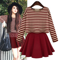 Stripe Long-Sleeve Shirt And Circle Chiffon Skirt