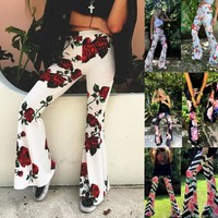 New Women Vintage High Waist Bell Bottom Long Flare Pants Floral Stretch Boho Hippie