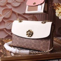 COACH WOMEN'S 2018 HOT STYLE LEATHER INCLINED CHAIN SHOULDER BAG