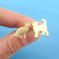 Kitty Cat Silhouette Pet Themed Mix and Match Stud Earrings in Gold