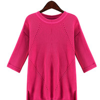 Hot Pink Half-Sleeve Knitted Shirt