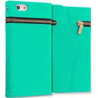 Mint Green Zipper Wallet Case Cover Pouch With Slots for Apple iPhone 6 6S (4.7)