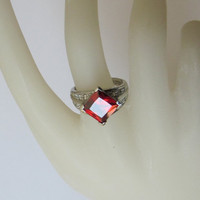 Sterling Silver Ring with Red Colored Stone - Vintage
