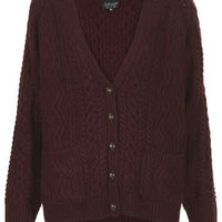 Knitted Angora Cable Cardi - Knitwear  - Clothing