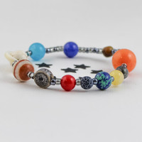 Solar System Bracelet, Planet Bracelet, Planet Jewelry, Outer Space Bracelet, Galaxy Bracelet, Astrology Jewelry, Cosmic, Stretchy Bracelet