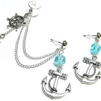 Oceanside Chain Ear Cuff Earrings Set Handmade