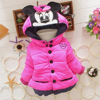 New 2016 girls casual baby clothing winter Minnie coat baby kids coat for children children outerwear & coats,kids jackets