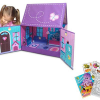 Neat-Oh! A1801XX 60 Doll Dollhouse Butterfly Chateau and Toy Storage with Coloring Book