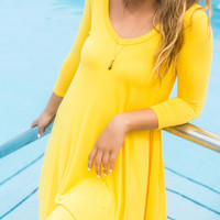 Never Let Go Yellow V-Neck Quarter Sleeve Dress
