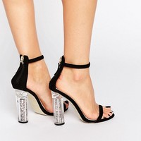 Boohoo Sparkly Perspex Heel Barely There at asos.com