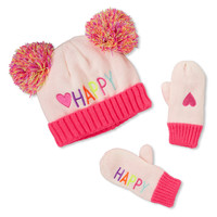 Toddler Girls 'Happy' Heart Double Pom Pom Hat And Mittens Set | The Children's Place
