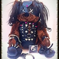 Leather Bondage Slave Dominatrix Handcuffed Teddy Bear - Genuine handmade leather fetish outfit
