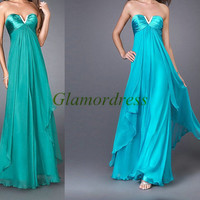 long chiffon prom dresses / satin v-neck gowns for holiday party / cheap evening dress on sale / simple dresses / elegang gowns
