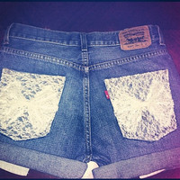 High Waisted Levi's Denim Shorts With White by AngeliqueMerici