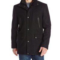 Kenneth Cole New York Men's Wool-Blend Coat with Front-Zip Bib