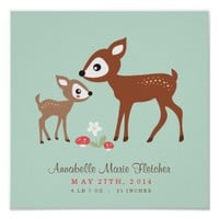 Hello Deer! Baby Nursery Wall Art Poster