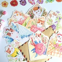 30 cat envelope embellishment paper card cute cat drawing kitten meow die cut paper cat illustrations pets print little card paper gift