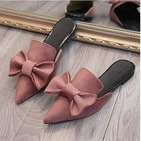 simple mules summer flower shoes women flat sandals pointed slipper casual woman slides black pink green rihanna superstar style