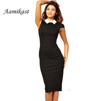 Career Women Summer Turn-down Collar Fit Work Dress Vintage Elegant Business office Pencil bodycon Midi Dresses