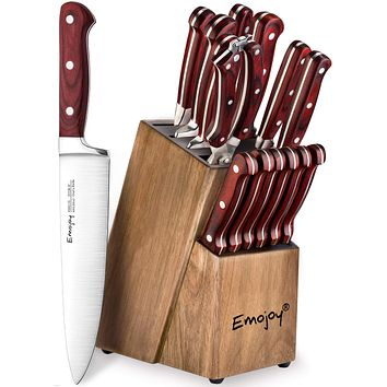 Knife Set, 15-Piece Kitchen Knife Set with Wattle-Wood Block, Manual Sharpening for Chef Knife Set, German Stainless Steel, Emojoy Fathers Day Gift