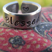 blessed cuff style aluminum ring