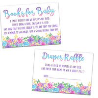 Unicorn Face Baby Shower Diaper Raffle Tickets or Books for Baby