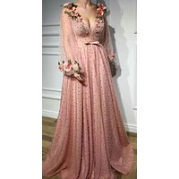 Pink 3D Flowers V Neck Prom Dress Embroidery Long Sleeves Beaded Party Evening Dress