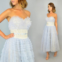 PERIWINKLE vtg 50s strapless sweetheart TULLE DRESS cupcake full circle skirt party bombshell, small