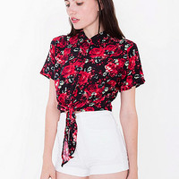 Printed Rayon Mid-Length Tie-Up Blouse   American Apparel