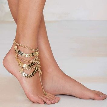 Ladies Cute Sexy Stylish Shiny Gift Jewelry New Arrival Accessory Summer Vintage Heavy Work Tassels Chain Anklet(With Thanksgiving&Christmas Gift Box) [7241007495]